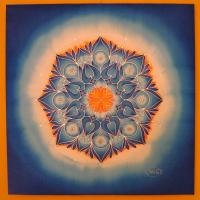 Changing mandala, 70x70 cm, silk painting