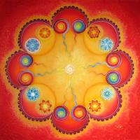 Love mandala, 90x90 cm, silk pictures