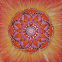 intensity mandala silk painting, 45x45 cm