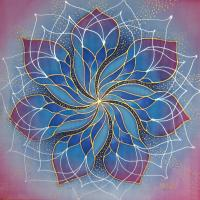 dawn mandala silk painting, 40x40 cm